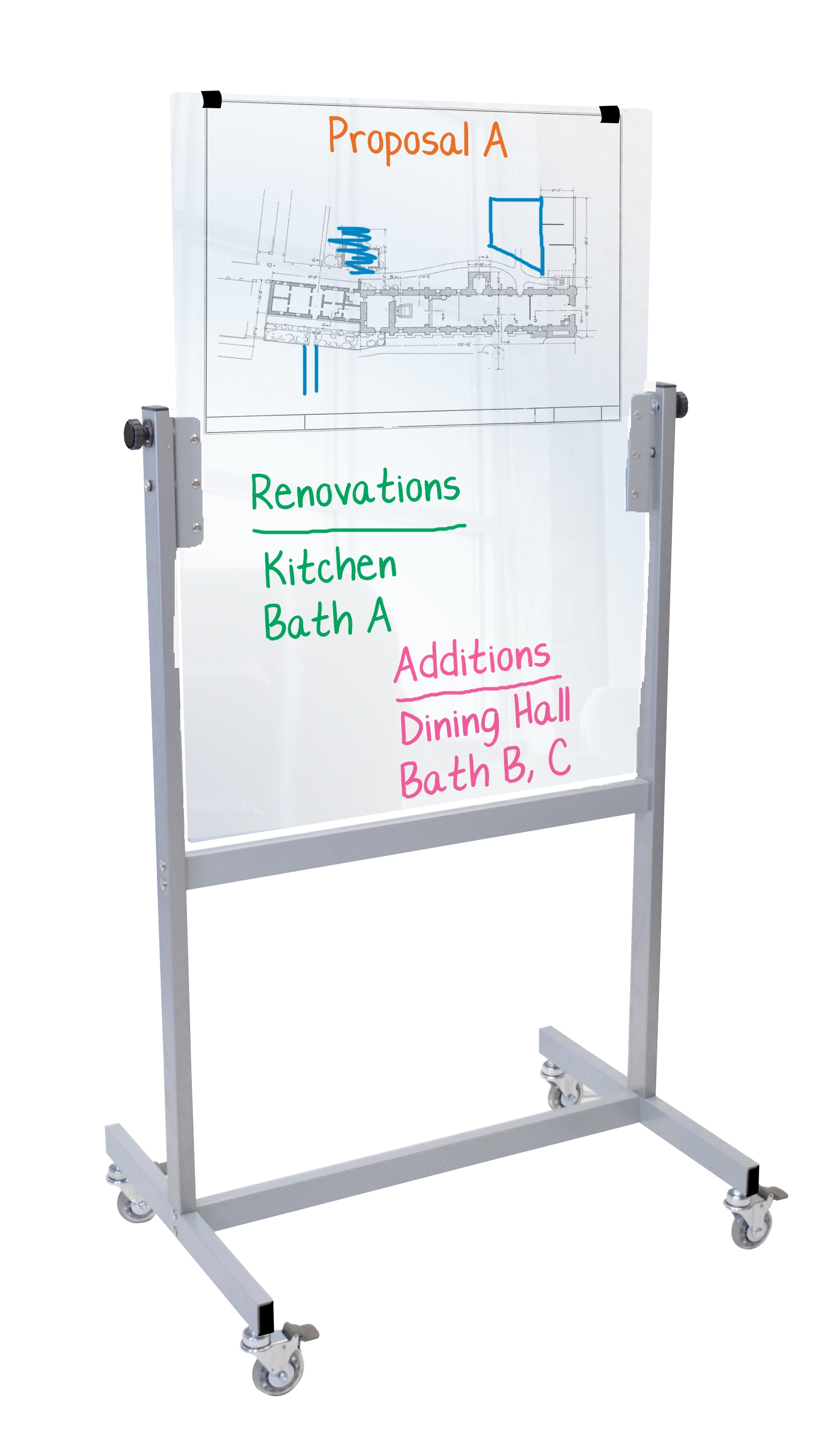 Mobile Glass Board Whiteboard, Markerboard