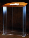 Acrylic Pulpit 3351W Wood Top